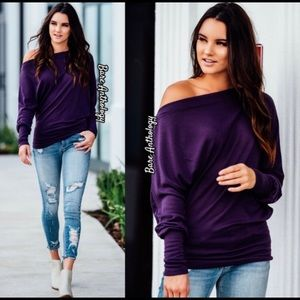 Purple Off Shoulder Dolman Sleeve Top